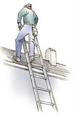 Example of properly extending ladder past its top resting point.