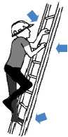 Proper climbing stance for climbing a portable ladder