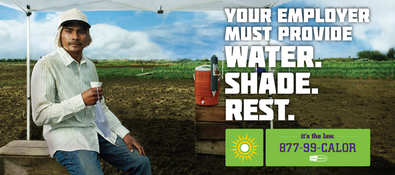 Your employer must provide water, shade, rest.