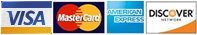 Logos for Visa, Master Card, American Express, and Discover