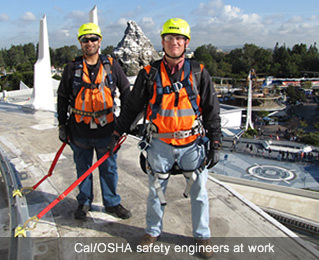 Cal/OSHA safety engineers at work.